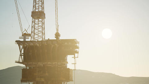 Image of oil platform while cloudless day Footage