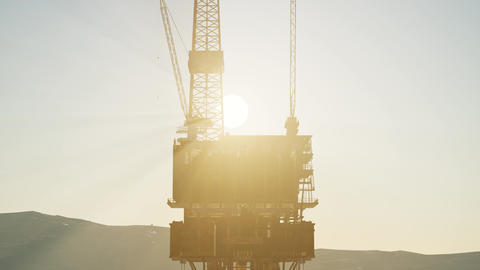 Image of oil platform while cloudless day Stock Video Footage