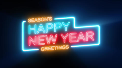 Happy New Year's Eve Celebration On Neon Sign Loop, Stock Animation