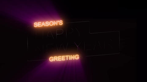 Happy New Year's Eve Celebration On Neon Sign Loop Stock Video Footage