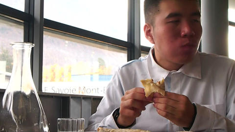 Businessman is Eating Healthy Lunch at Restaurant Live Action