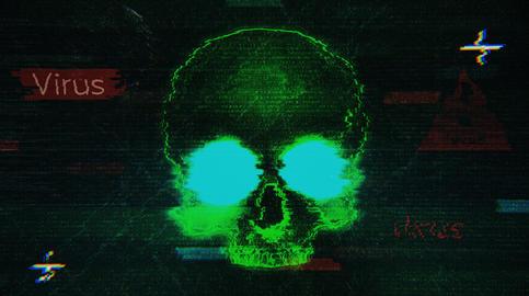 Computer Skull Virus Attack Fotografía