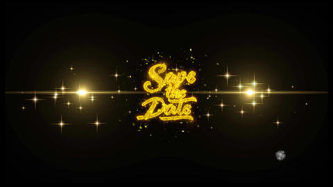 Save the Date Golden Text Blinking Particles with Golden... Stock Video Footage