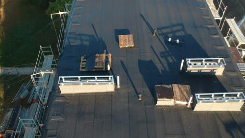 Flat house roof after renovation, aerial view Live Action