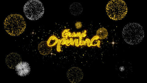 Grand Opening Golden Text Blinking Particles with Golden Fireworks Display Footage