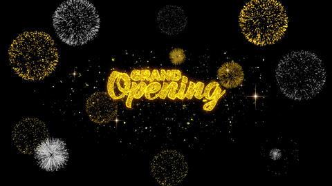 Grand Opening Golden Text Blinking Particles with Golden Fireworks Display 1 Footage
