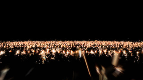 Camera flies over rows of sparklers, with alpha Animation