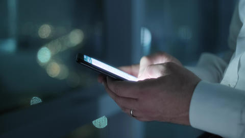 Hands Of Business Man Typing Text Message On Phone Footage