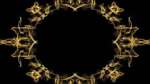 Animated festive golden frame in fractal design, oval borders on black GIF