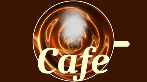 Banner cafe, cup of hot coffee with a cloud of steam, top view, animated Animation