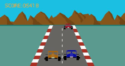 Retro pixel art style race car video game Footage