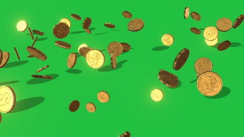 Tumbling Coins on Green Background: Looping + Matte Animation