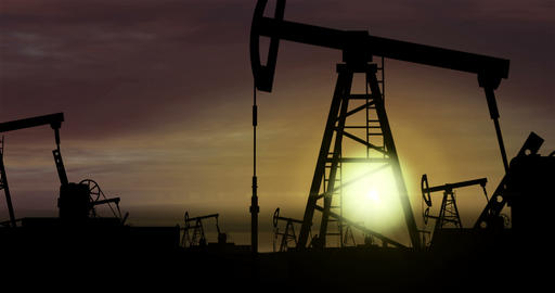 Oil pumps - oil extraction on sunset background 2 Animation