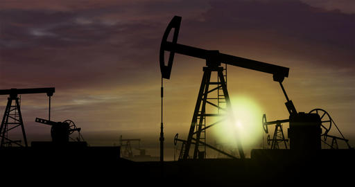 Oil pumps - oil extraction on sunset background 3 Animation