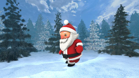 Cute Santa dancing salsa in a winter forest. Seamless funny Christmas animation CG動画素材