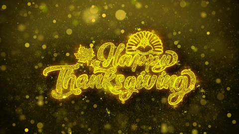 Happy Thanksgiving Wishes Greetings card, Invitation, Celebration Firework Live Action