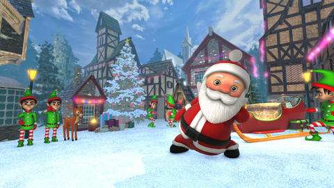 Cute Santa dancing salsa in a Christmas village. Seamless funny Christmas Animation