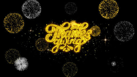 Happy Thanksgiving Golden Text Blinking Particles with Golden Fireworks Display Footage