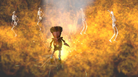 Devilish Character with Flames and Skeletons: Looping Animation