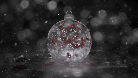 Christmas White Ice Glass Bauble Decoration snow red petals background loop Animation