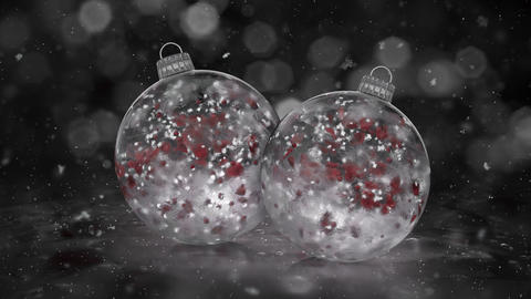 Two Christmas White Ice Baubles Decorations snow red petals background loop Animation