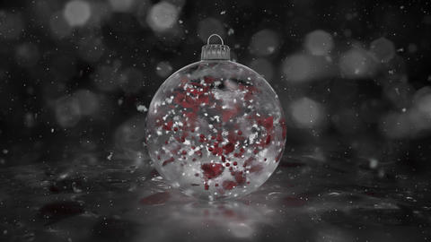 Christmas Rotating White Ice Glass Bauble snowflakes red petals background loop Animation
