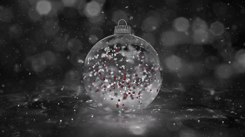 Christmas Rotating White Ice Glass Bauble snowflakes red balls background loop Animation