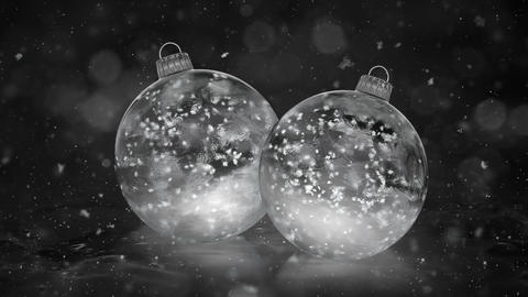 Two Rotating Christmas White Ice Baubles Decorations snowflakes background loop Animation