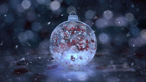 Christmas New Year Blue Ice Glass Bauble Decoration snow…, Stock Animation