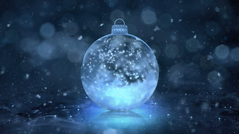 Christmas New Year Blue Ice Glass Bauble Decoration snow background loop 4k Animation