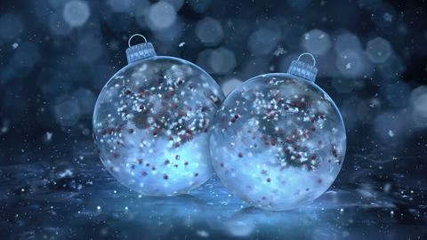 Two Christmas Blue Ice Glass Baubles Decorations snow red balls background loop Animation