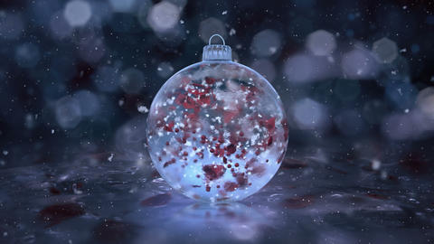 Christmas Rotating Blue Ice Glass Bauble snowflakes red petals background loop Animation