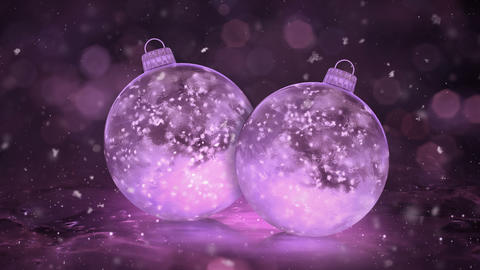 Two Christmas Pink Ice Glass Baubles Decorations snowflakes background loop Animation