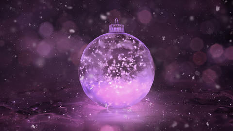 Christmas Rotating Pink Ice Glass Bauble Decoration snowflakes background loop Animation