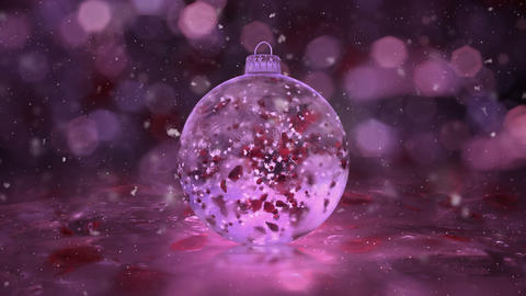 Christmas Rotating Pink Ice Glass Bauble snow red petals background loop Animation