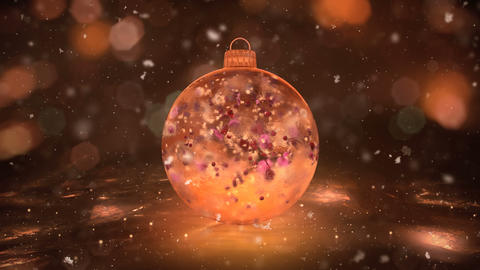 Christmas Gold Ice Glass Bauble Decoration snow colorful... Stock Video Footage