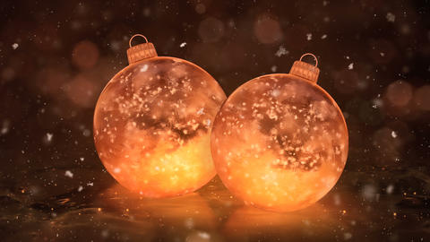 Two Christmas Golden Ice Glass Baubles Decorations snowflakes background loop Animation