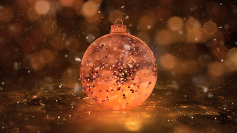 Christmas Rotating Golden Ice Glass Bauble snowflakes red balls background loop Animation