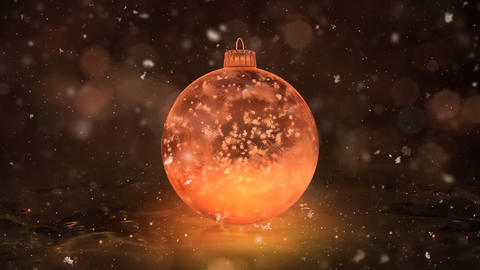 Christmas Rotating Golden Ice Glass Bauble Decoration snowflakes background loop Animation