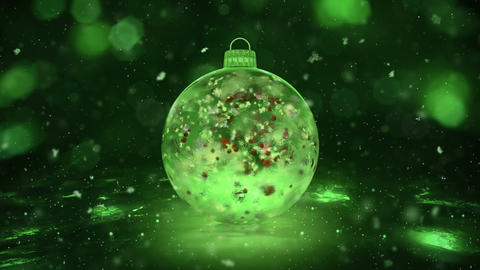 Christmas Green Ice Glass Bauble Decoration snow colorful petals background loop Animation