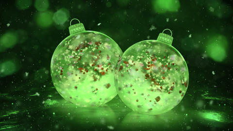 Two Christmas Green Ice Glass Baubles snowflakes colorful petals background loop Animation