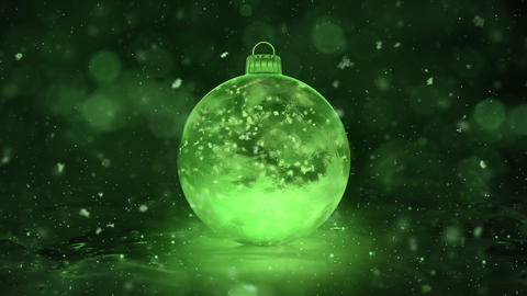 Christmas Rotating Green Ice Glass Bauble Decoration snowflakes background loop Animation