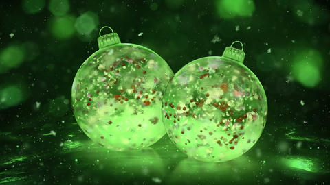 Two Rotating Christmas Green Ice Baubles snow colorful petals background loop Animation