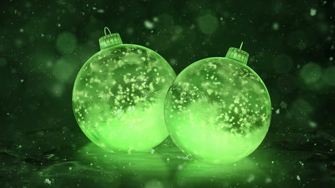Two Rotating Christmas Green Ice Glass Baubles Decorations snow background loop Animation