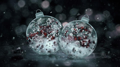 Two Christmas Grey Noir Ice Glass Baubles snowflakes red petals background loop Animation