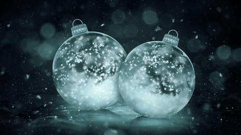 Two Christmas Grey Noir Ice Glass Baubles Decorations snowflakes background loop Animation