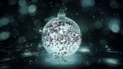 Christmas Rotating Grey Noir Ice Bauble snow colorful petals background loop Animation