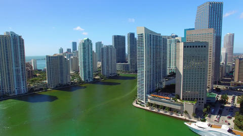 Downtown Miami aerial skyline on a sunny day, all ads removed Live Action