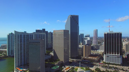 Beautiful aerial panoramic view of Downtown Miami, all ads removed Footage