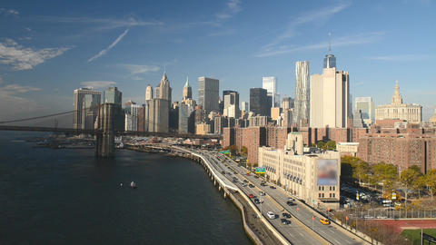 FDR Drive traffic and cars on a sunny day, all ads removed. New York aerial view Footage